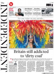 The Independent (UK) Newspaper Front Page for 1 September 2015