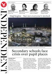 The Independent (UK) Newspaper Front Page for 1 September 2017