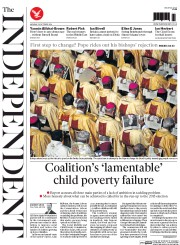 The Independent (UK) Newspaper Front Page for 20 October 2014