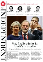 The Independent (UK) Newspaper Front Page for 20 October 2017