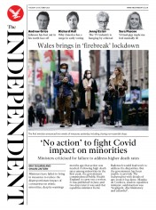 The Independent (UK) Newspaper Front Page for 20 October 2020