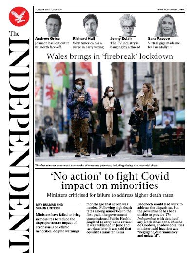 The Independent Newspaper Front Page (UK) for 20 October 2020