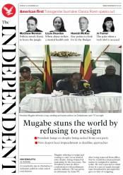 The Independent (UK) Newspaper Front Page for 20 November 2017