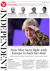 The Independent (UK) Newspaper Front Page for 20 November 2018