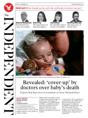 The Independent front page for 20 November 2020