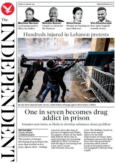 The Independent Newspaper Front Page (UK) for 20 January 2020