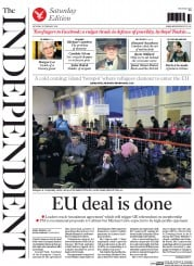 The Independent (UK) Newspaper Front Page for 20 February 2016