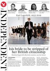 The Independent () Newspaper Front Page for 20 February 2019