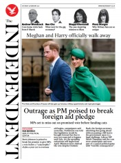 The Independent front page for 20 February 2021