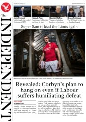 The Independent (UK) Newspaper Front Page for 20 April 2017