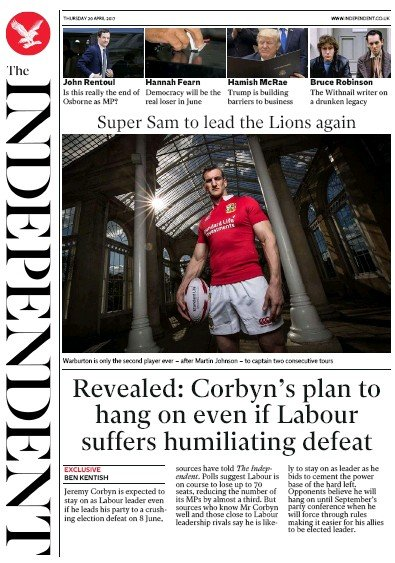 The Independent Newspaper Front Page (UK) for 20 April 2017