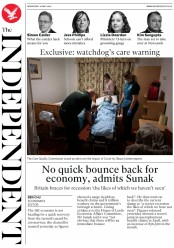 The Independent (UK) Newspaper Front Page for 20 May 2020