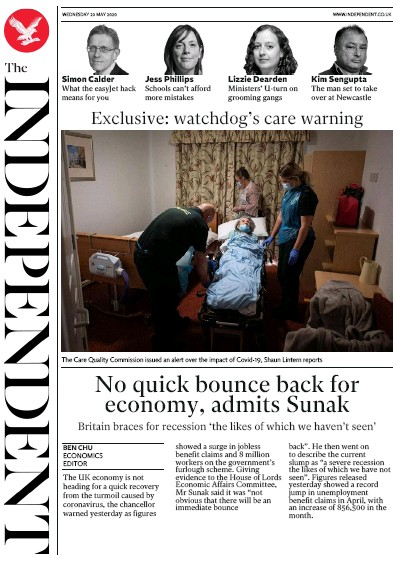 The Independent Newspaper Front Page (UK) for 20 May 2020