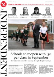The Independent front page for 20 June 2020