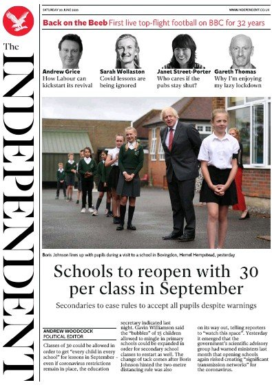 The Independent Newspaper Front Page (UK) for 20 June 2020