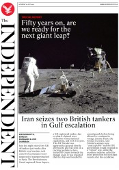 The Independent (UK) Newspaper Front Page for 20 July 2019