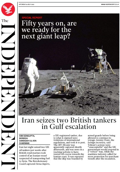 The Independent Newspaper Front Page (UK) for 20 July 2019