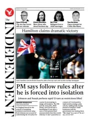 The Independent () Newspaper Front Page for 20 July 2021