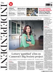 The Independent (UK) Newspaper Front Page for 20 August 2014