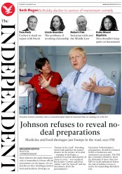 The Independent (UK) Newspaper Front Page for 20 August 2019