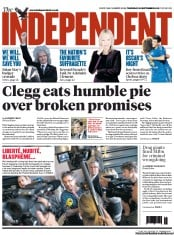The Independent Newspaper Front Page (UK) for 20 September 2012