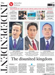 The Independent (UK) Newspaper Front Page for 20 September 2014