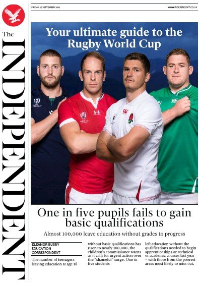 The Independent Newspaper Front Page (UK) for 20 September 2019