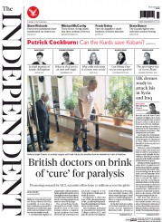 The Independent (UK) Newspaper Front Page for 21 October 2014