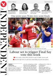 The Independent (UK) Newspaper Front Page for 21 October 2019