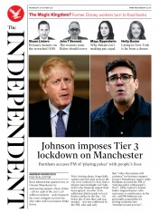 The Independent front page for 21 October 2020