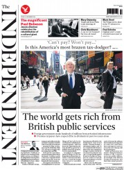 The Independent (UK) Newspaper Front Page for 21 November 2014