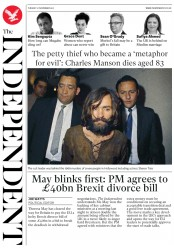 The Independent (UK) Newspaper Front Page for 21 November 2017