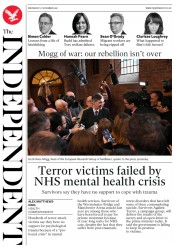 The Independent (UK) Newspaper Front Page for 21 November 2018