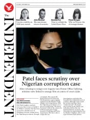The Independent front page for 21 November 2020