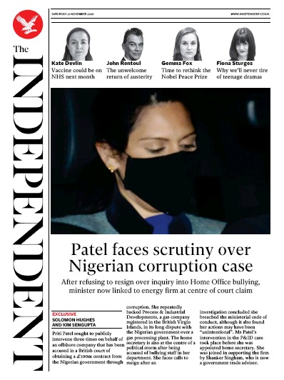 The Independent Newspaper Front Page (UK) for 21 November 2020