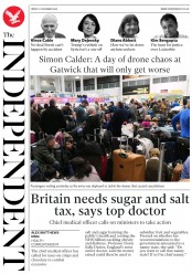 The Independent (UK) Newspaper Front Page for 21 December 2018