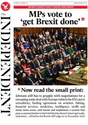 The Independent (UK) Newspaper Front Page for 21 December 2019