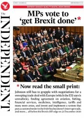 The Independent () Newspaper Front Page for 21 December 2019