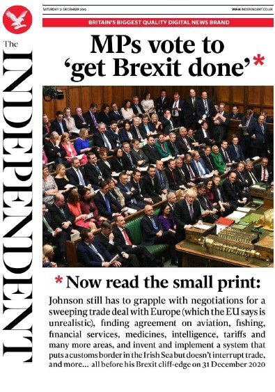 The Independent Newspaper Front Page (UK) for 21 December 2019