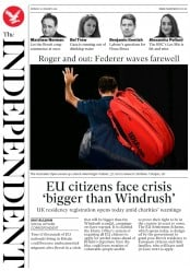 The Independent (UK) Newspaper Front Page for 21 January 2019