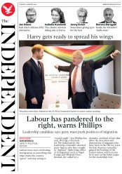The Independent (UK) Newspaper Front Page for 21 January 2020