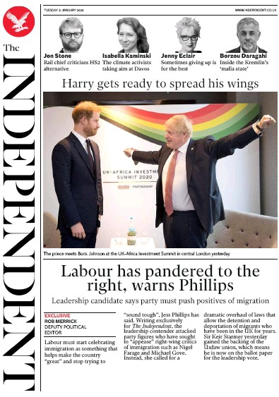 The Independent Newspaper Front Page (UK) for 21 January 2020