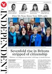 The Independent () Newspaper Front Page for 21 February 2019