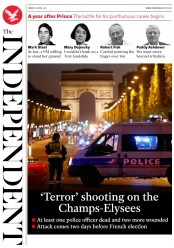 The Independent (UK) Newspaper Front Page for 21 April 2017