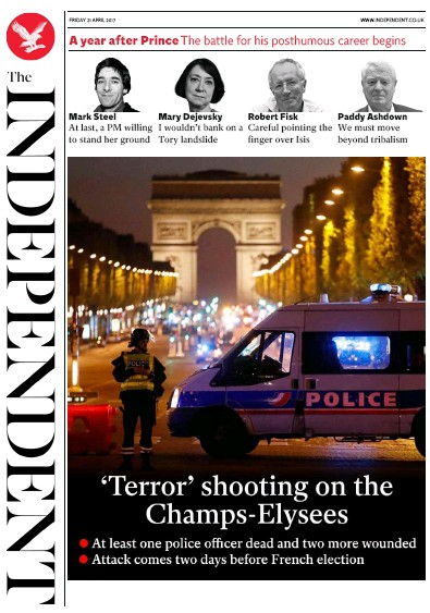 The Independent Newspaper Front Page (UK) for 21 April 2017