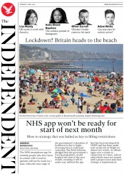 The Independent front page for 21 May 2020