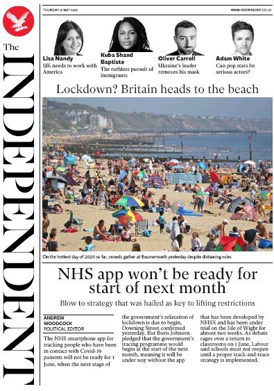The Independent Newspaper Front Page (UK) for 21 May 2020