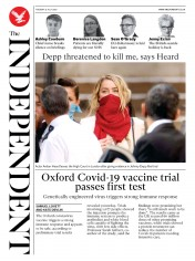 The Independent (UK) Newspaper Front Page for 21 July 2020