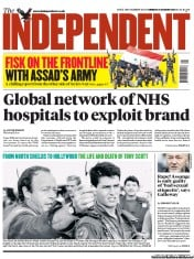 The Independent () Newspaper Front Page for 21 August 2012