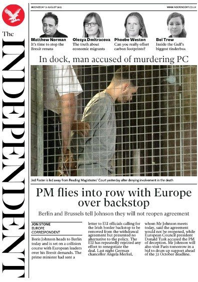 The Independent Newspaper Front Page (UK) for 21 August 2019